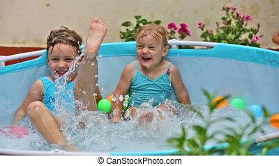zwemmen, geitje, kinderen, pool