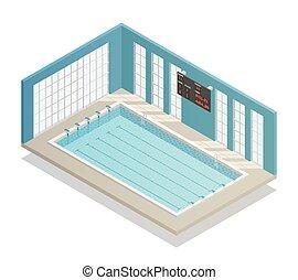 zwemmen, isometric, aanzicht, pool, bad