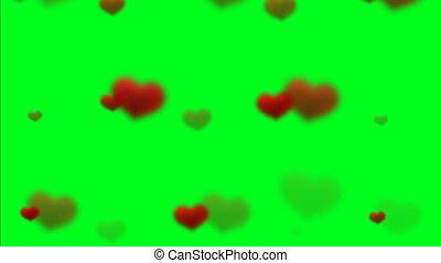 zwevend, hartjes, scherm, groene