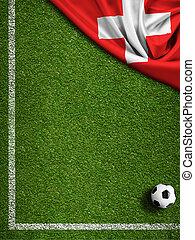 zwitserland, akker, vlag, bal, voetbal