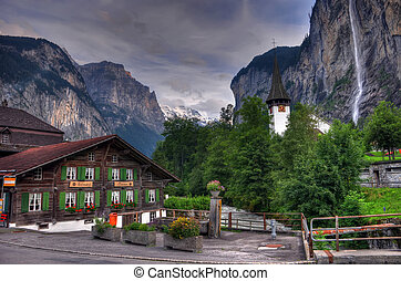 zwitserland, berg, waterval, landscape